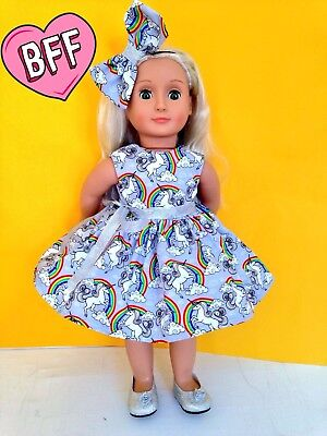 """18"""" Dolls clothes for Our Generation Girl Doll. Unicorn Dolls Dress."""