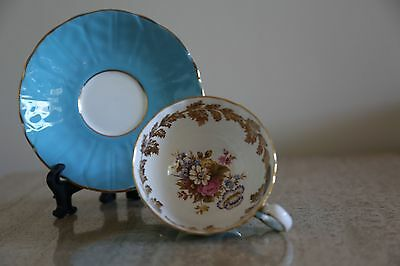 Aynsley-England turquoise cup & saucer with flowers and gold leaves (20)