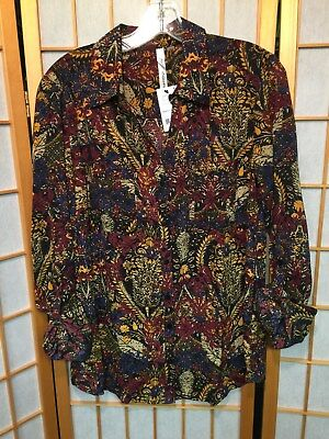 NWT NY Collection Womens Printed Pullover Top-Navy/Rust/Gold-Sz M-MSRP $40(E22)