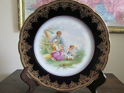 CFH GDM Haviland Limoges France Handpainted Portrait Scene Cobalt Blue Plate