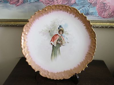 Wm Guerin Limoges France Hand Painted Portrait Plate Gold