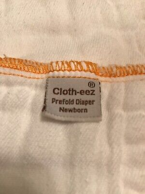 Lot Of 3 Clotheez Newborn Prefold Cloth Diapers Cotton Orange Edge