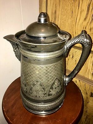 American Aesthetic Victorian Meriden Ice Pitcher Ewer Pot Chased Silver Plate