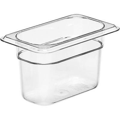 "CASE OF 6 NEW Cambro 94CW135 Clear Camwear 1/9 Size x 4"" D Food Pans"