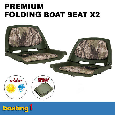 Premium Folding Boat Seats Marine All Weather Camouflage With Swivel - Pair