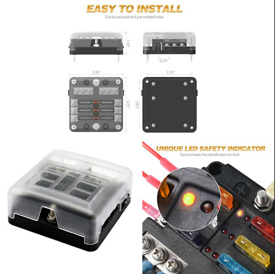 Car Truck Boat Marine Bus 6Way Electric Blade Fuse Holder Box Block Case 12/32V