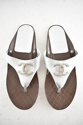 18187a9833c4 Chanel 18S Silver Laminated Quilted CC Logo Thong Strap Slide Flat Sandal  38C