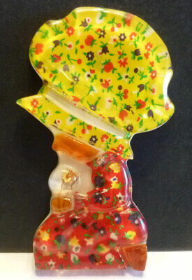 Vintage retro lucite / resin / acrylic SPOON REST or wall hanging, Paisley girl