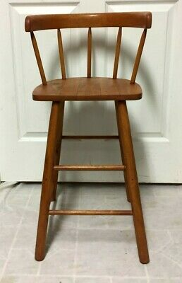 Vintage Antique Child Baby Solid Wood Windsor Style High Chair - Nice!!