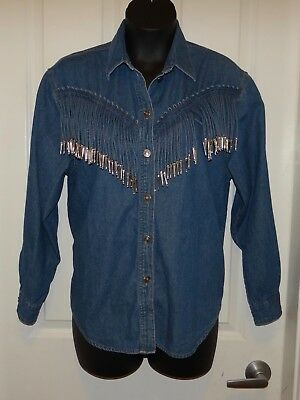 3a6f727c5f429d Vtg Womens Regina Porter blue jean denim western rodeo shirt tassels Large  XL