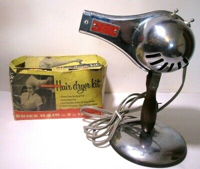 Antique Vintage Old Retro Mid-Century Miracle Vac Chrome Hair Dryer With Box
