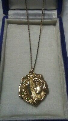 Antique Art Nouveau Lovely Lady Locket W/ Rhinestones & Flowers VERY DETAILED!!!