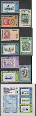 Tristan Da Cunha Ascension St. Helena 9 Stamps + SS Historical Ships 1976 MNH