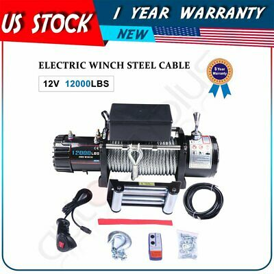 12000LB(5443KG) 6HP Off-road Electric Winch Towing Steel for ford Chevrolet 12V