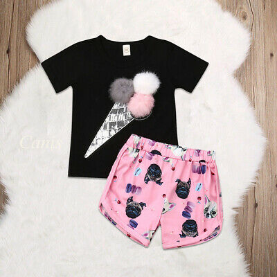 Toddler Baby Girls Summer Ice Cream T-Shirt Tops+Shorts Pant 2Pcs Outfit Clothes