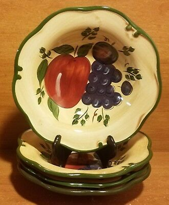"Home Trends GRANADA Soup / Cereal bowl set of 4, 8 1/4"", Fruit, Excellent"