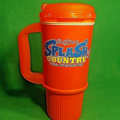 Vintage Whirley DOLLYWOOD's Splash Country Insulated Rubber Bottom Travel Mug O1