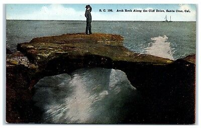 Early 1900s Man Standing on Arch Rock along Cliff Drive, Santa Cruz, CA Postcard