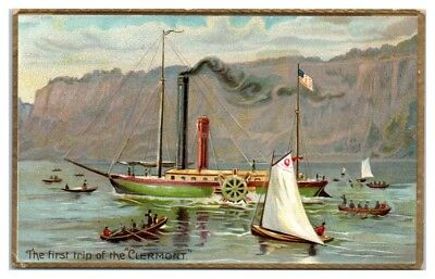 First Trip of the Clermont, Fulton's Steamship on the Hudson River TUCK Postcard