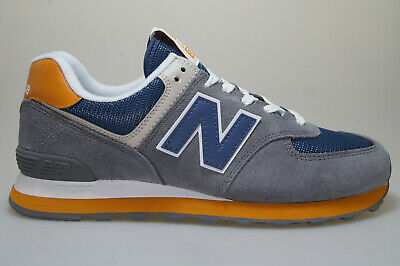 NEW BALANCE 574 Trainers in White, Orange & Blue LAST SIZE