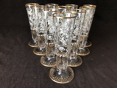 Antique Venetian Murano Glass Champagne Flutes Gold and White Enameled Set of 10