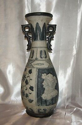 Antique Blue & White Chinese Crackle Vase With handles