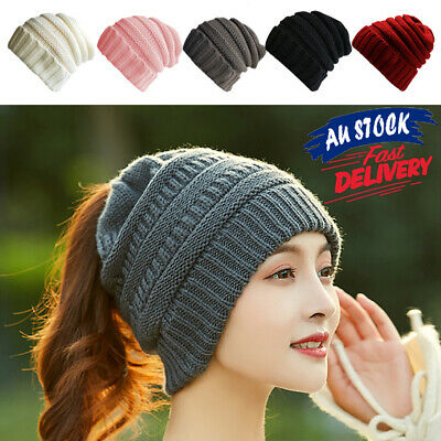 Fashion Knitting Warm with A Ponytail Stretchy Beanie Cap Wool Hat Women's