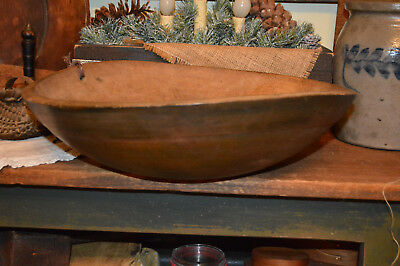 Antique 19thc PRIMITIVE PAINTED UMBER Dough Trencher Treen Turned Bowl ~ AAFA