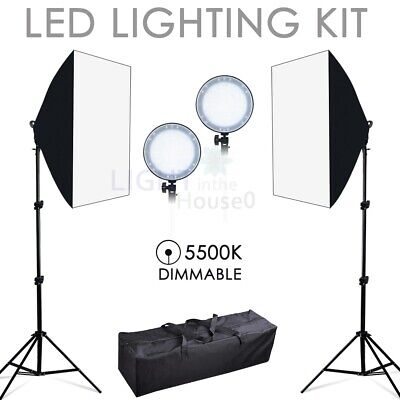 LED Dimmable Softbox Lighting Photo Studio Continuous Soft Box Light Stand Kit