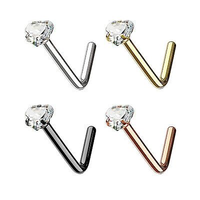 Heart CZ 316L Surgical Steel L Bend Nose Studs (Select Color, Thickness)