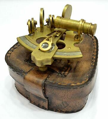 """SEXTANT 4"""" Collectible Antique German Working Marine Vintage With Leather Box"""