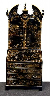 Lacquer Secretary Bookcase - Chinese Export Gilt Chinoiserie Desk