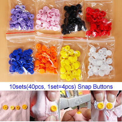40pcs Resin Snap Buttons Plastic Snaps Fasteners Press Studs Size T5 Caps New