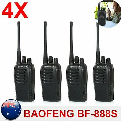 4x Baofeng BF-888S Walkie Talkie UHF 400-470MHz 16CH Two-Way Radio Microphone AU