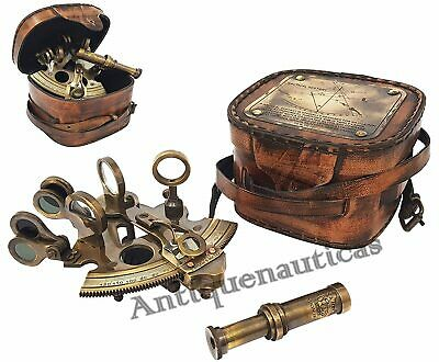 "SEXTANT 4"" kelvin & hughes london 1917 Vintage Collectible Antique W/Leather Box"