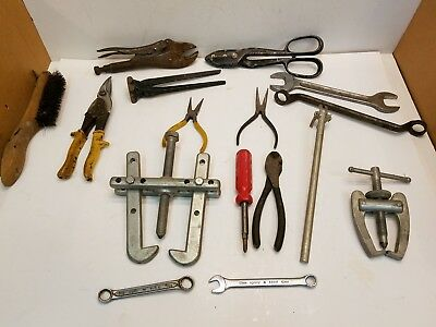 Mixed lot 16 Pcs Pliers, Sheet-metal Snips, Wrenches, Pulleys, Screwdriver....
