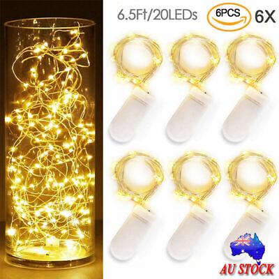 6Pack 2M 20LEDs Fairy Micro Lights Waterproof Wire String Light Xmas Party Decor