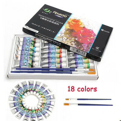 18 Colors Artists Gouache Tube Watercolor Draw Painting Paint Set + 2 Brushes