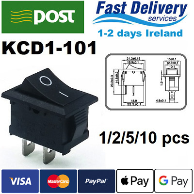Black Push Button Mini Switch 6A-10A 110V 250V KCD1-101 2Pin Snap-in On/Off