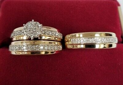 14K Yellow Gold Over His & Hers Diamond Engagement Wedding Bridal Trio Ring Set