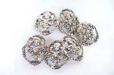 Antique Edwardian Set of 6 Hallmarked Sterling Silver Buttons  : London 1902