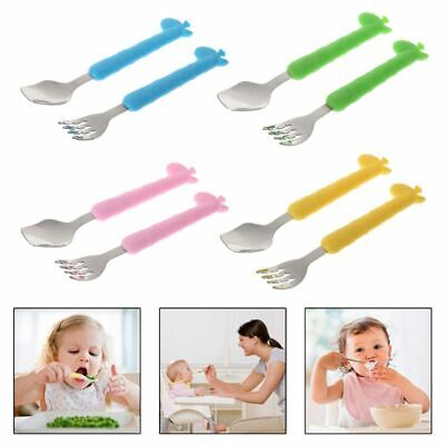 Cartoon Cute Baby Fork Spoon With Box Shatter-resistant Portable Cutlery Set New