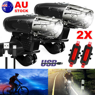 2X USB Rechargeable Warning Bike Lights Bicycle LED Front Rear Tail Waterproof
