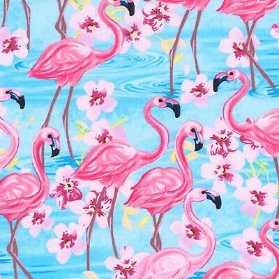 Oasis - Flamingo Pond - Water Blue by Timeless Treasures, cotton fabric