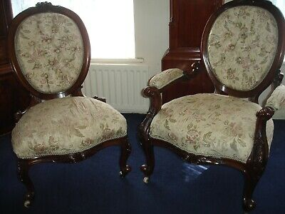 Matching Pair Of A French Ladies Chair And Gentlemans Walnut Armchair C 1850