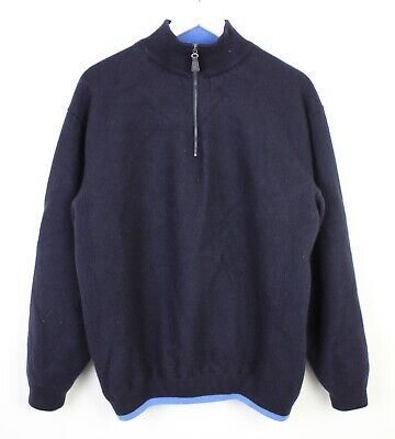 Dunhill Mens Half Zip 100% Merino Wool Scotland Navy Jumper Pull Over - XL