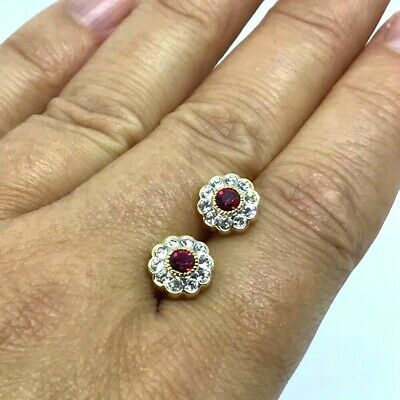 14k Yellow Gold Finish 2CT Round Cut Red Ruby and VVS1 Diamond Halo Stud Earring