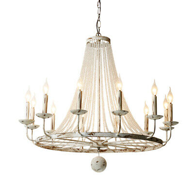 Rustic 12-Light Large Chandelier Kitchen Crystal Bead Candle Style Pendant Light