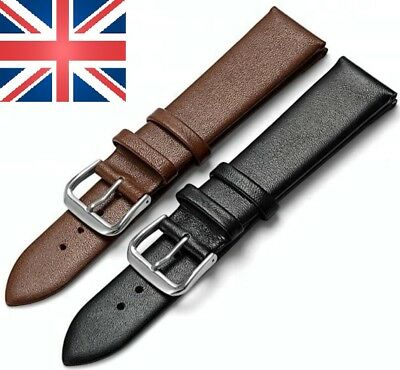 2 X Genuine Calf Leather Black And Brown Watch Soft Strap Size 18-16-20-22Mm
