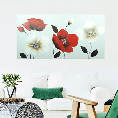 Hand Painted Modern Art Canvas Oil Painting Home Decor Poppy Flowers Framed